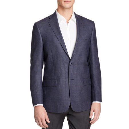 Worsted Wool Mens Blazer (Hart Schaffner Marx Mens New York Worsted Wool Check Sportcoat 42L Navy)
