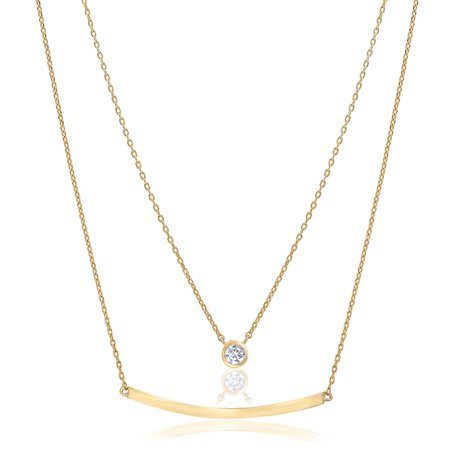 Lesa Michele Women's White Cubic Zirconia Bezel Set and Curved Bar Station Double Stranded 16