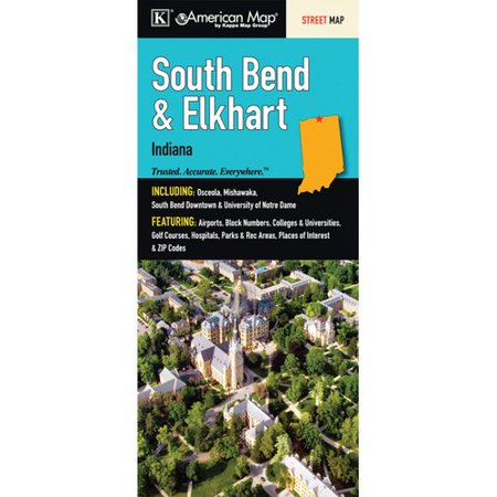 Universal Map Elkhart South Bend Indiana Fold Map  Set Of 2