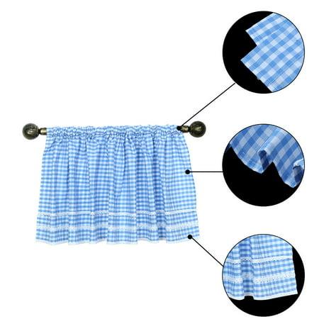 Polyester Plaid Pattern Short Curtain Window Valance Blue 60 Inch x 17.7 Inch - image 1 de 7