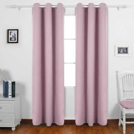Room Darkening Thermal Insulated Blackout Grommet Window Curtain Panel For Living Pinkish Lavender