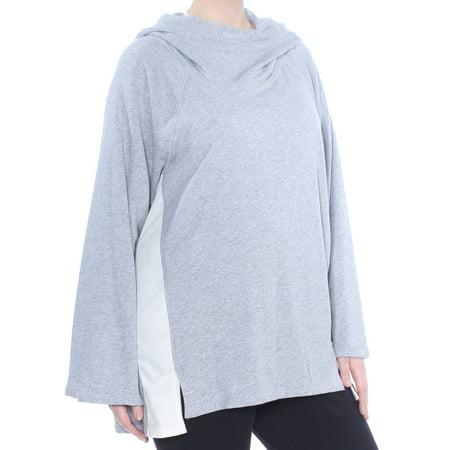 CALVIN KLEIN Womens Gray Velou-trim Long Sleeve Top Plus Size: 1X