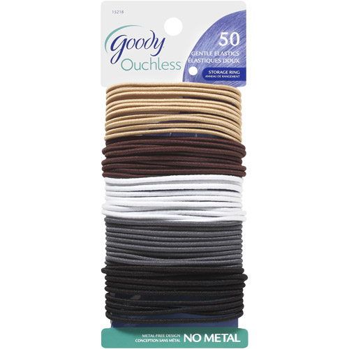 Goody Ouchless No Metal Gentle Elastics, Assorted Neutral Colors, 50 count