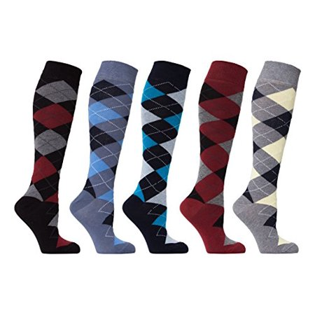 Soft Cotton Argyle Socks - socks n socks - women's 5-pairs luxury cotton cool funky colorful fashion designer fun argyle knee high socks with gift box
