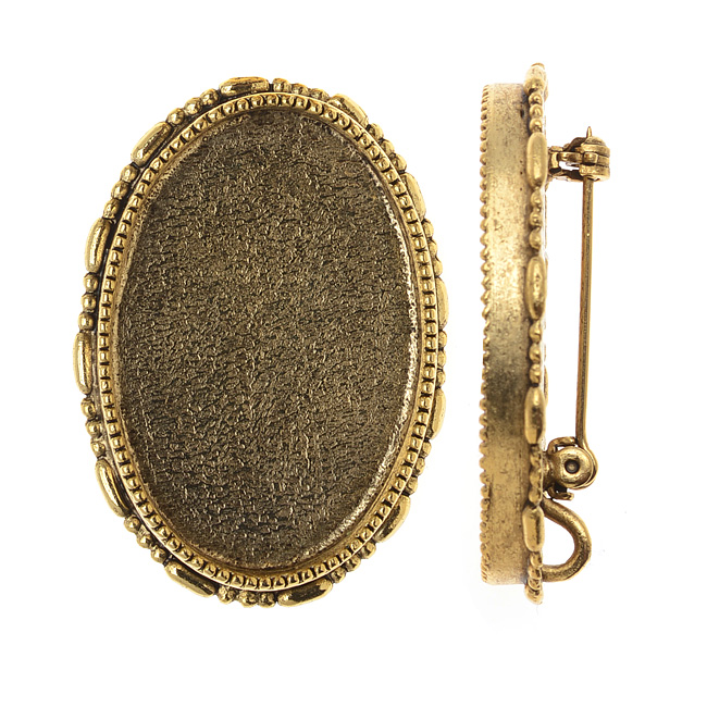 Nunn Design Antiqued Gold Plated Oval Brooch Bezel Pendant 26x30mm (1)