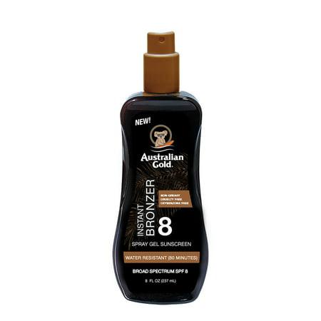 Australian Gold SPF 8 Spray Gel Sunscreen with Instant Bronzer
