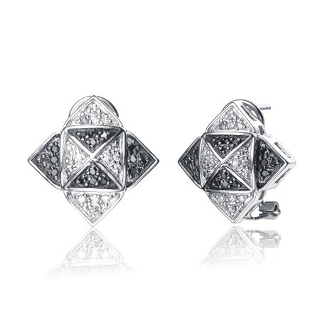 Sterling Silver Black Cubic Zirconia Pave Triangle Earrings