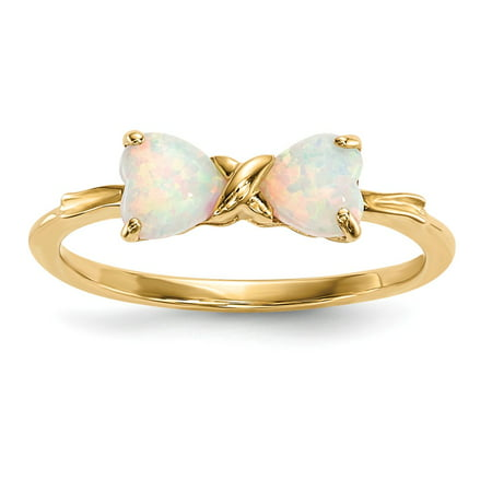 Tiffany Bow Ring (Solid 14k Gold Polished Simulated Opal Bow Ring (1mm) - Size)