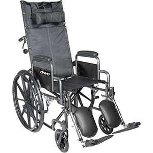 Silver sport reclining wheelchair with detachable desk length arms and elevating leg rest part no. ssp18rbdda (1/ea)