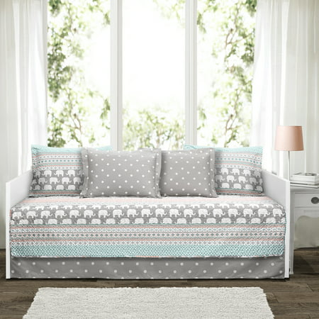 Elephant Stripe Turquoise/Pink 6Pc Daybed Cover Set 39x75