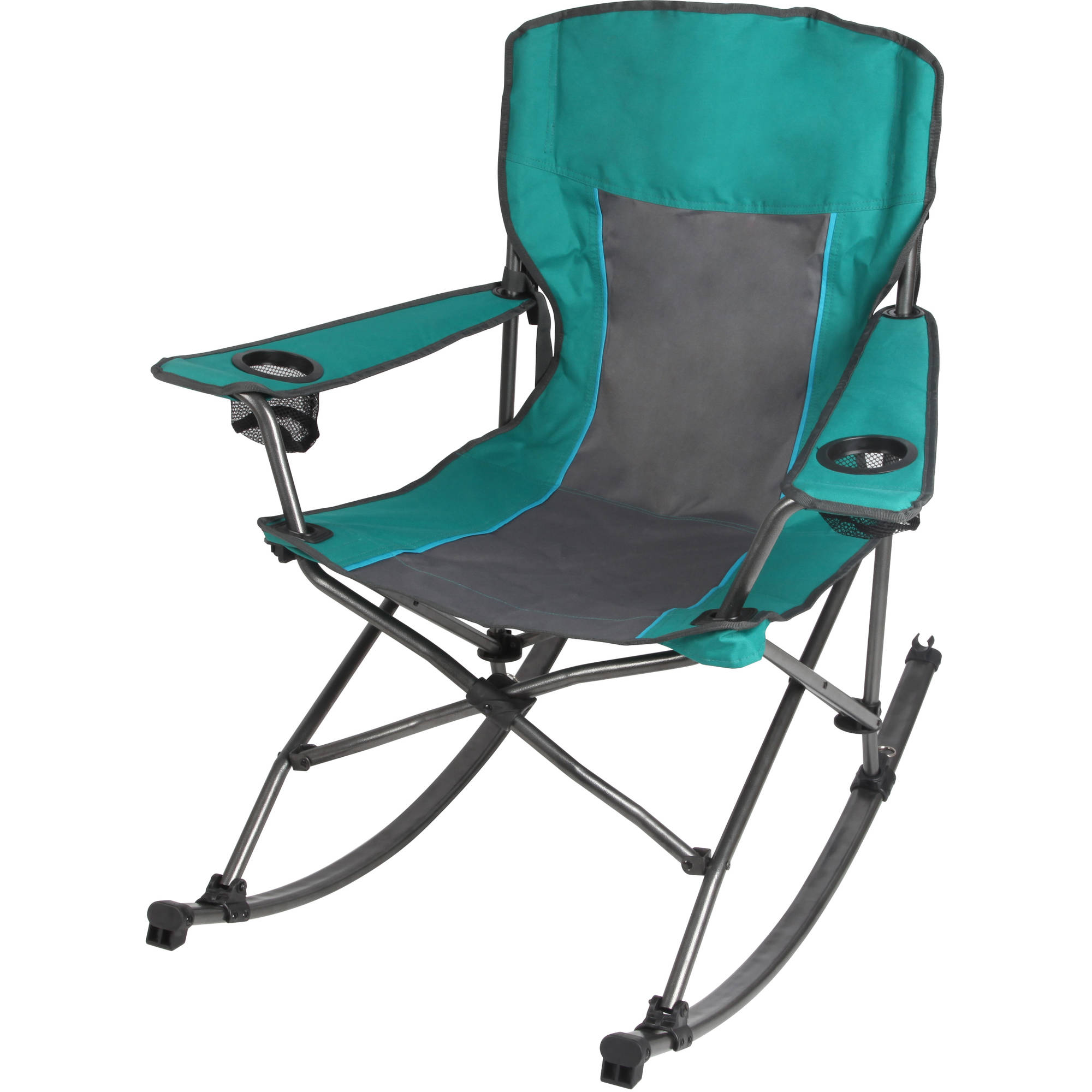 Ozark Trail Quad Fold Rocking Camp Chair with Cup Holders, Green ...