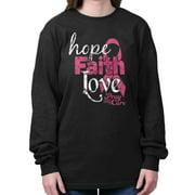 Breast Cancer Awareness Shirt | Faith Hope Love Support Pink Long Sleeve Tee
