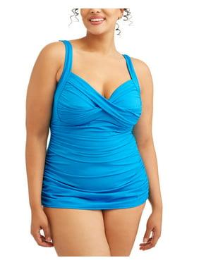Simply Slim Women's Plus-Size Cross Your Heart One-Piece Sheath