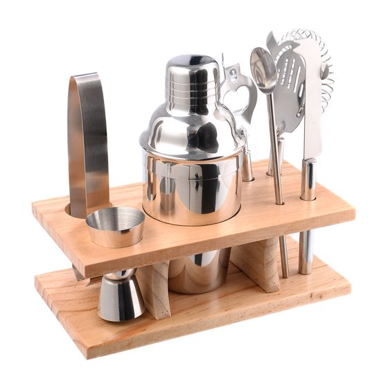 costway stainless steel cocktail shaker mixer drink bartender martini tools bar set kit. Black Bedroom Furniture Sets. Home Design Ideas
