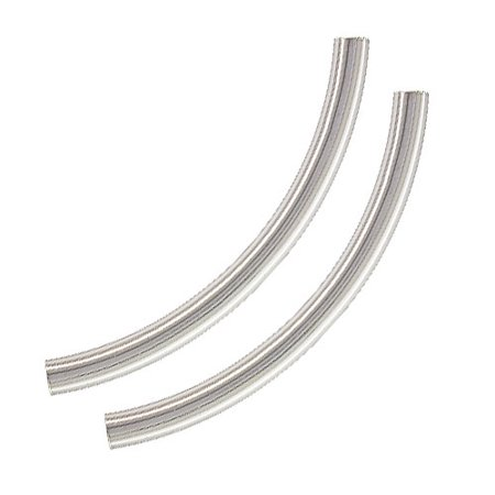 Sterling Silver Large Sleek Noodle Tube Beads 38mm x 3mm (2) - Large Tubes
