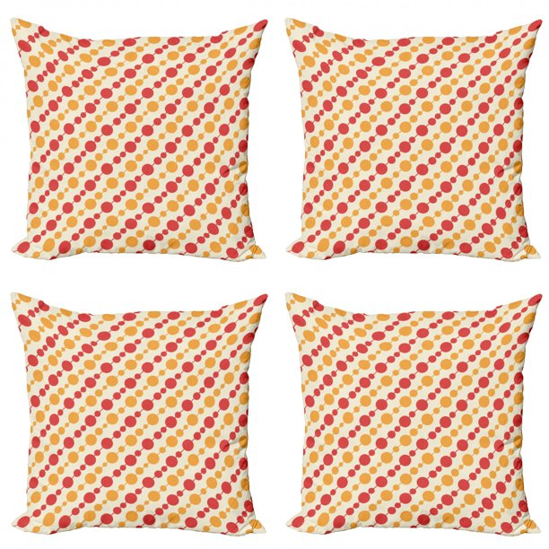 Retro Throw Pillow Cushion Case Pack Of 4 Diagonal Chain Pattern With Big And Small Dots