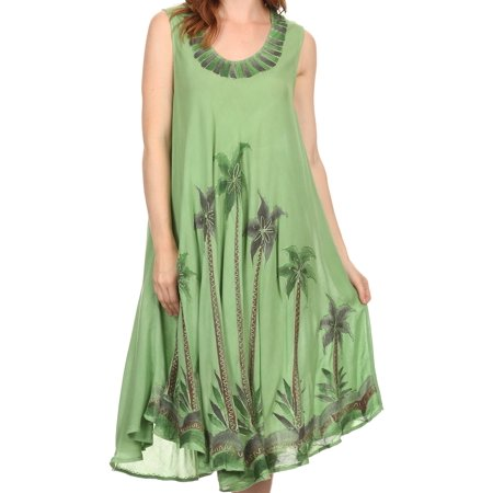 Sakkas Watercolor Palm Tree Tank Caftan Short Dress - Dark Green - One Size