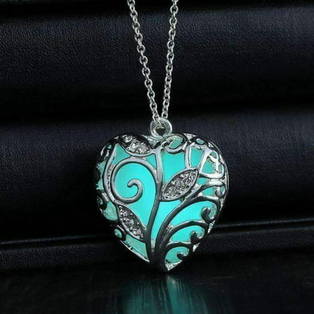 Lustrous Heart Glow in The Dark Pendant Necklace Silver