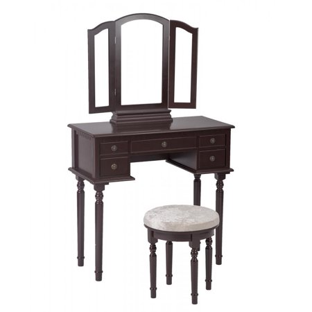 Cherry Makeup Vanity Table Set Tri-Folding Mirror Makeup Table With 5 Drawers -
