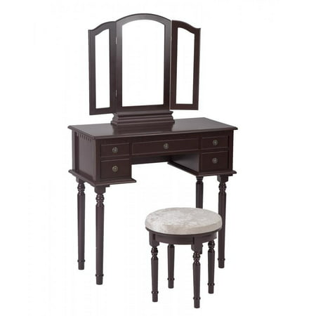 Cherry Vanity Table (Cherry Makeup Vanity Table Set Tri-Folding Mirror Makeup Table With 5 Drawers 52)