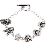 Women's 925 Sterling Silver 3D Character Charm Toggle Bracelet, 7.5