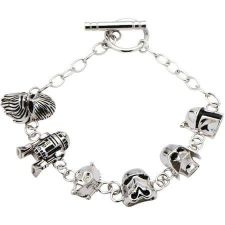 Sterling Toggle Bracelet (Women's 925 Sterling Silver 3D Character Charm Toggle Bracelet, 7.5 )
