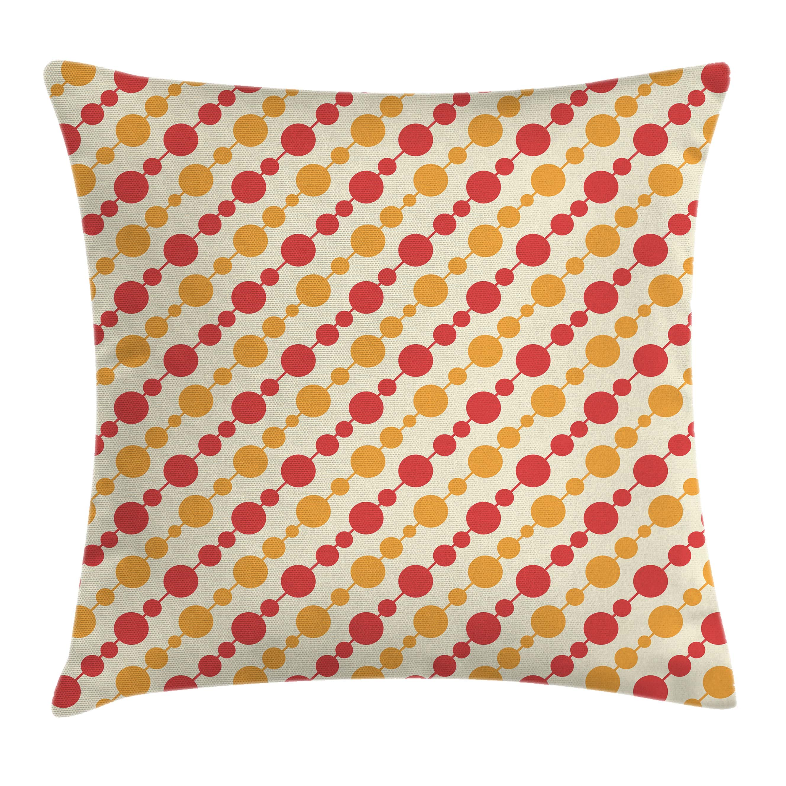 Kids Throw Pillow Cushion Cover, Diagonal Chain Pattern with Big and Small Dots on Lines in Shabby Colors, Decorative Square Accent Pillow Case, 16 X 16 Inches, Scarlet Marigold Cream, by Ambesonne