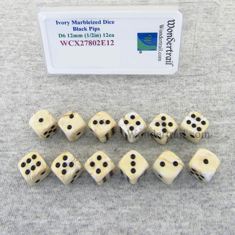 Ivory Marbleized Dice with Black Pips 12mm (1/2in) D6 Set of 12 Wondertrail