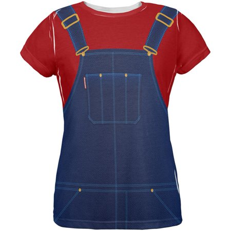Halloween Overalls Red T-Shirt Costume All Over Womens T Shirt - Halloween Overalls