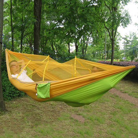Zeepin Lightweight Portable Nylon Camping Hammock for Backpacking Travel Hammock with Mosquito Net and Straps