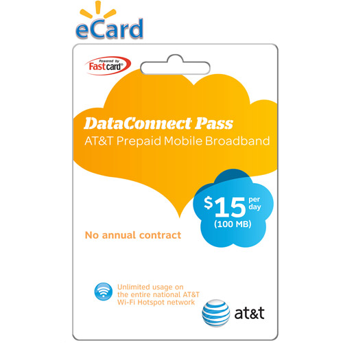(Email Delivery) AT&T Prepaid Mobile Broadband Data Connect Pass, $15 per day, 100MB