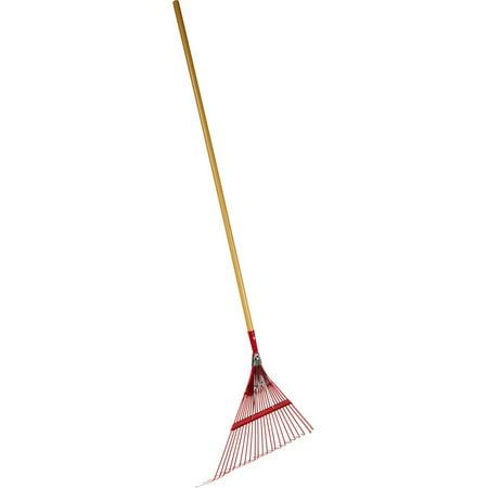 "Emsco Group 2850 22.5"" Fan Spring Metal Leaf Rake, 48"" Wooden Handle"