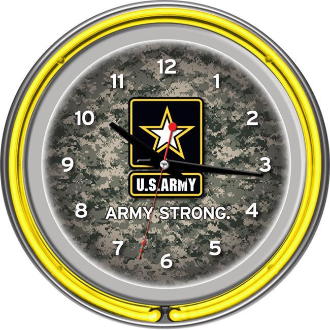 U. S.  Army Digital Camo Chrome Double Ring Neon Clock