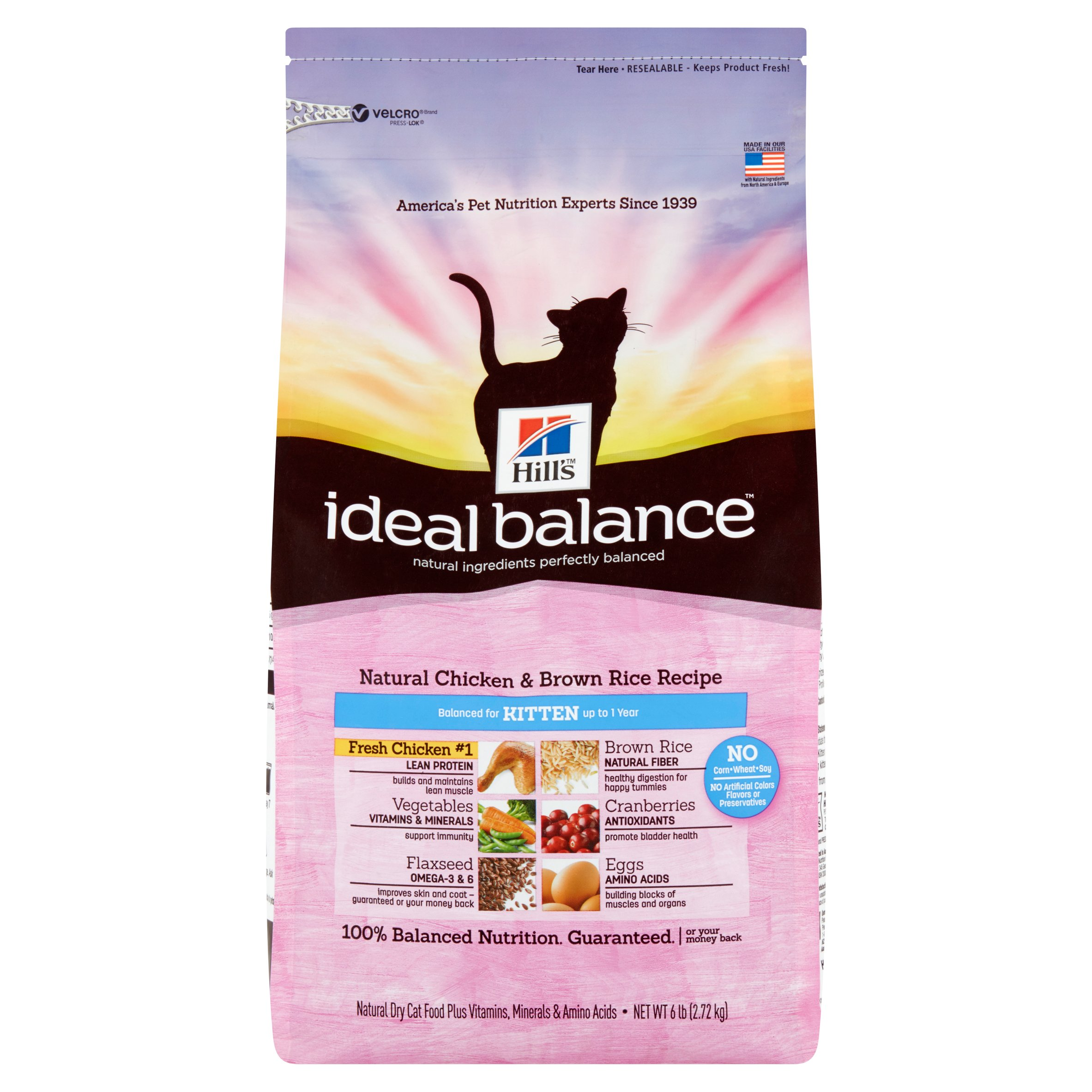 Hill's Ideal Balance (Get $5 back for every $20 spent) Kitten Natural Chicken & Brown Rice Recipe Dry Cat Food, 6 lb bag
