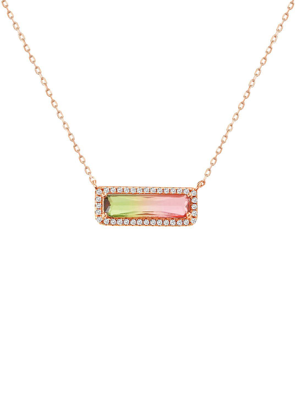 Lesa Michele Crystal Bar Pendant Chain Necklace