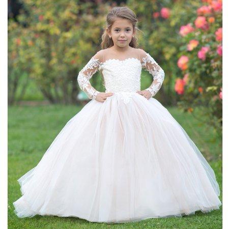 22c6c385462 triumphdress - girls ivory cream lace applique train madison ball flower  girl dress - Walmart.com
