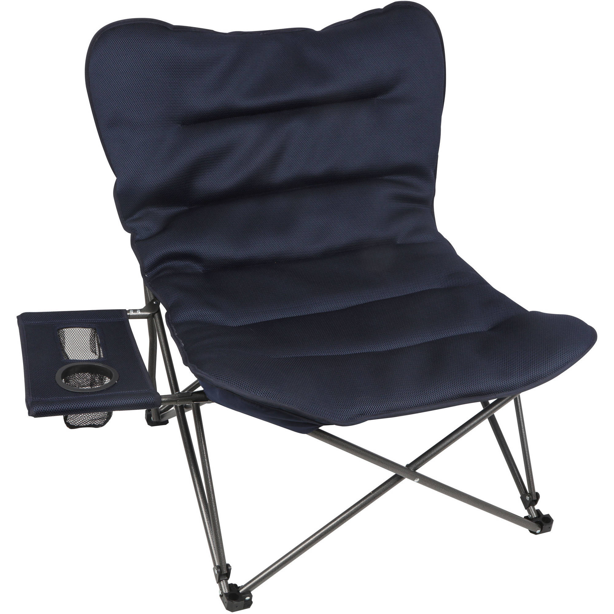 Ozark Trail Oversized Relax Plush Chair with Side Table, Blue