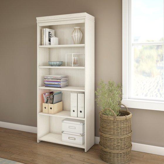 White Bookshelves: Bush Furniture Fairview 5 Shelf Bookcase In Antique White