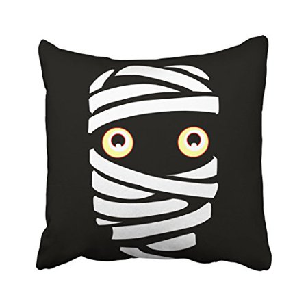WinHome Cute Funny Vintage Happy Halloween Vampire Mummy Gifts Decor Polyester 18 x 18 Inch Square Throw Pillow Covers With Hidden Zipper Home Sofa Cushion Decorative Pillowcases