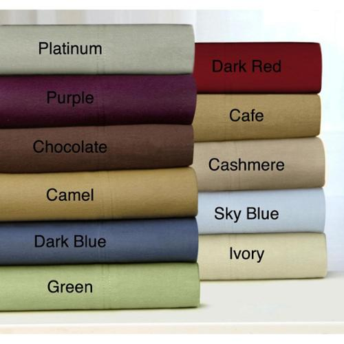 Tribeca Living Luxury Solid Flannel Deep Pocket Sheet Set Queen - Chocolate