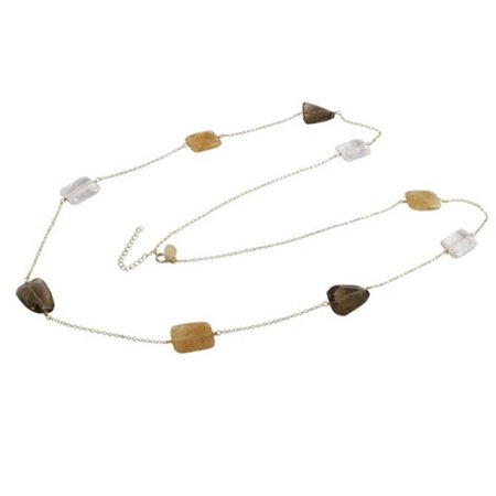Dlux Jewels Smoky & Citrine Rutilated Semi Precious Faceted Stones with Gold Plated Sterling Silver Chain, 36 in. - image 1 of 1