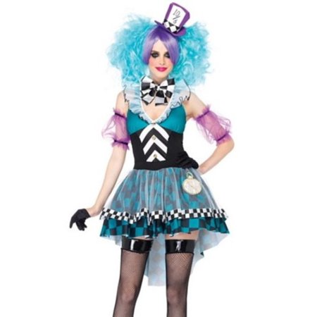 Women's 4PC.Manic Mad Hatter Dress Costume w/ choker, sleeves, headband