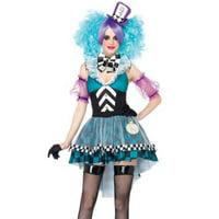 Women's 4PC.Manic Mad Hatter Dress Costume w/ choker, sleeves, headband