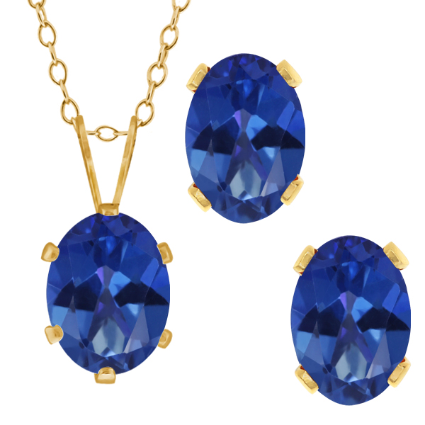 3.50 Ct Oval Royal Blue Mystic Topaz Gold Plated Silver Pendant Earrings Set