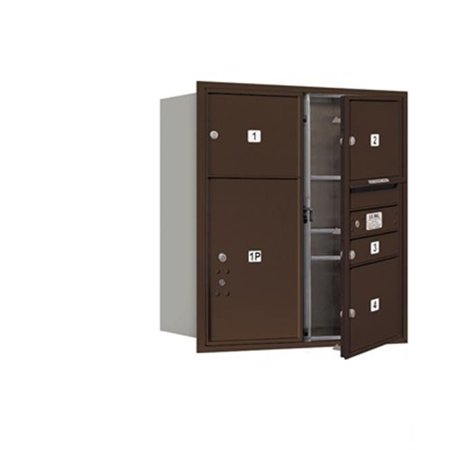 - Salsbury 3709D-04ZFP 4C Horizontal Mailbox Includes Master Commercial Locks - 9 Door High Unit - 34 Inches - Double Column - 1 Mb1 Door - 3 Mb3 Doors - 1 Pl6 - Bronze - Front Loading - Private Access