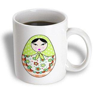 Matryoshka Mug (3dRose Cute Russian Matryoshka Nesting Doll Black Hair - Warm Colors White, Ceramic Mug,)