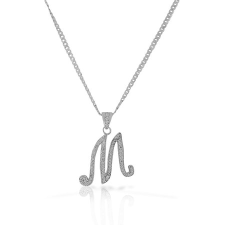 925 Sterling Silver CZ Letter Initial