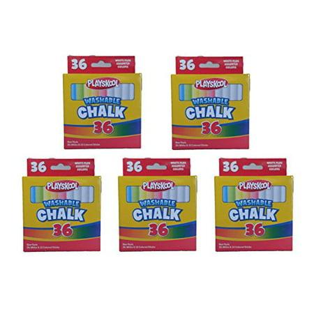 Assorted Colored Chalk (Set of 5 Playskool Brand Washable 36 Piece White and Assorted Colored Chalk)