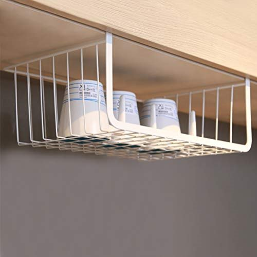 Moyad Under Shelf Basket Hanging Storage Wrap Rack Organizer For Kitchen Cabinet Pantry Wardrobe Office Desk White Walmart Com Walmart Com