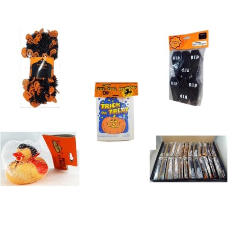 Halloween Fun Gift Bundle [5 Piece] -  Black & Orange Pumpkin Garland 10 ft. - Tombstone Containers Party Favors 6 Count -  Trick or Treat Bags 40/ct - Happy  Monster Duck Novelty -Vampire Rubber Du